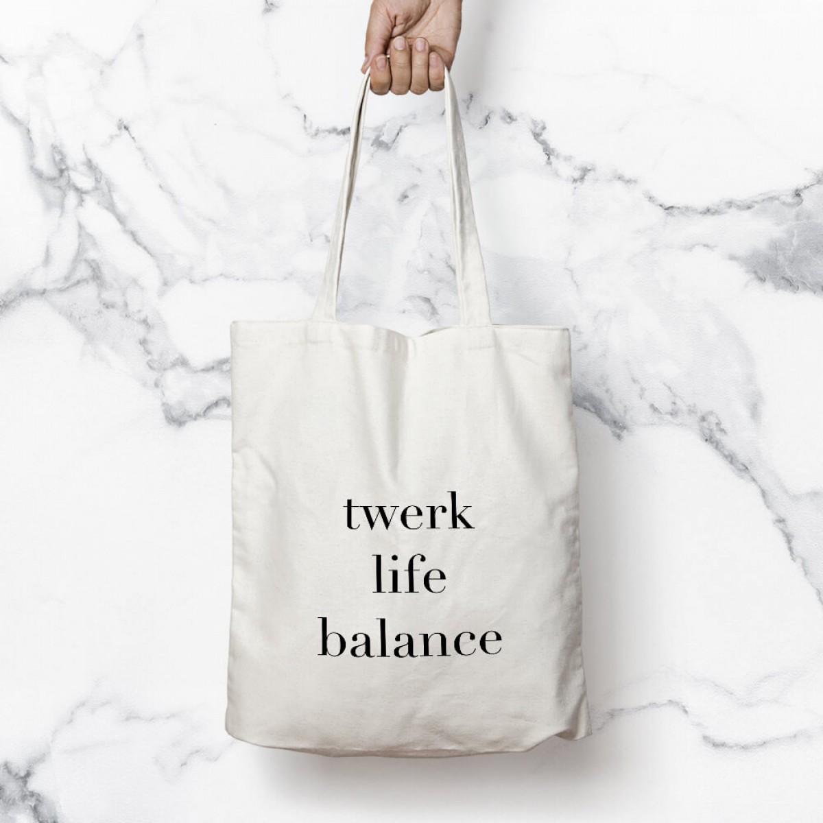 """edition ij Baumwolltasche """"twerk life balance"""""""