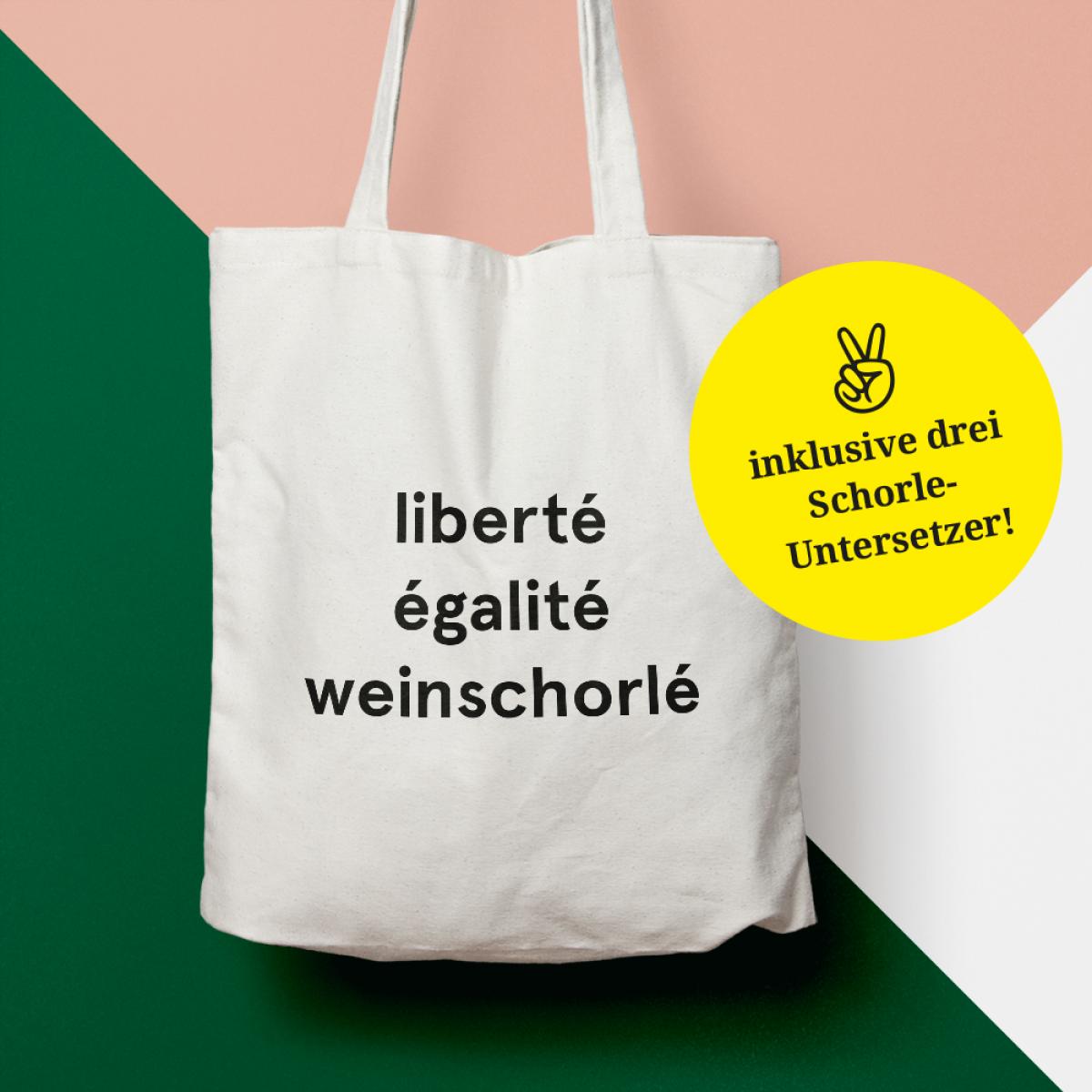"""edition ij Baumwolltasche """"liberté égalité weinschorlé"""" + Schorle-Untersetzer"""