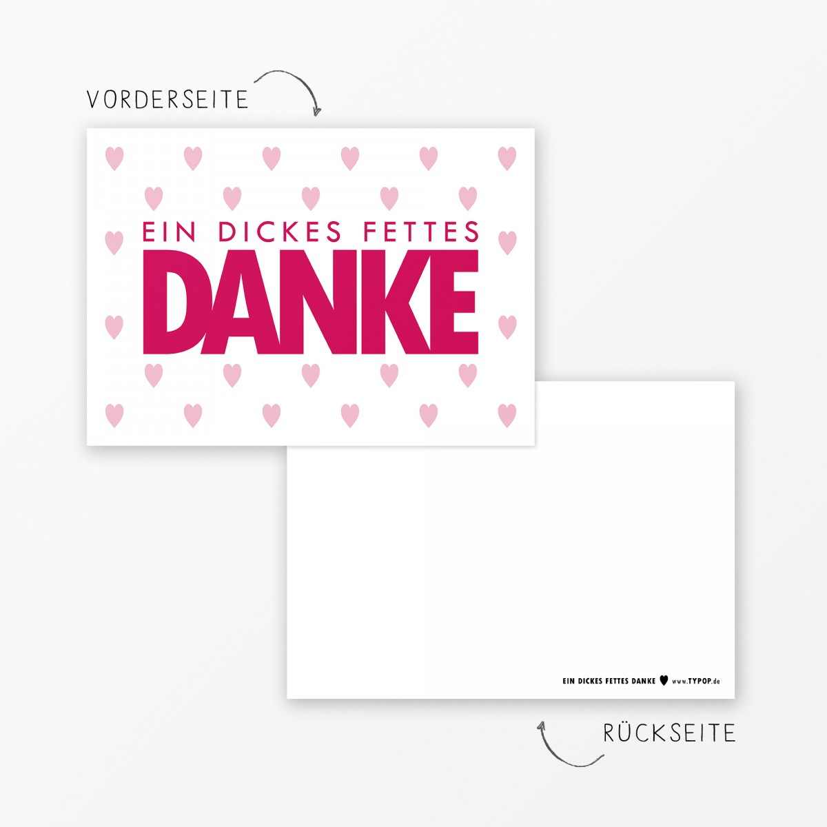 """TYPOP Postkarte """"Danke"""" mit Herz WEISS A6"""