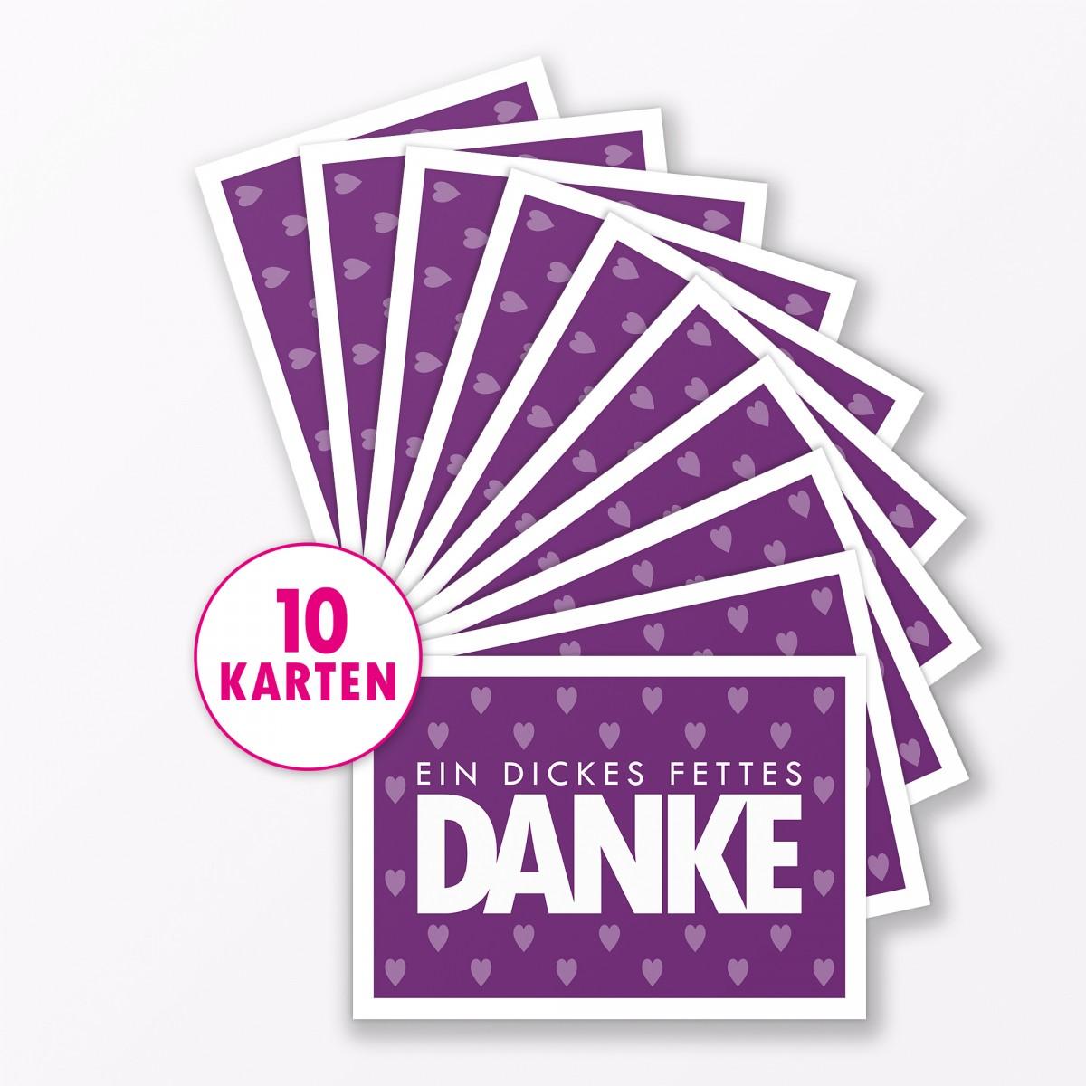 "TYPOP Postkarte ""Danke"" mit Herz VIOLETT A6"