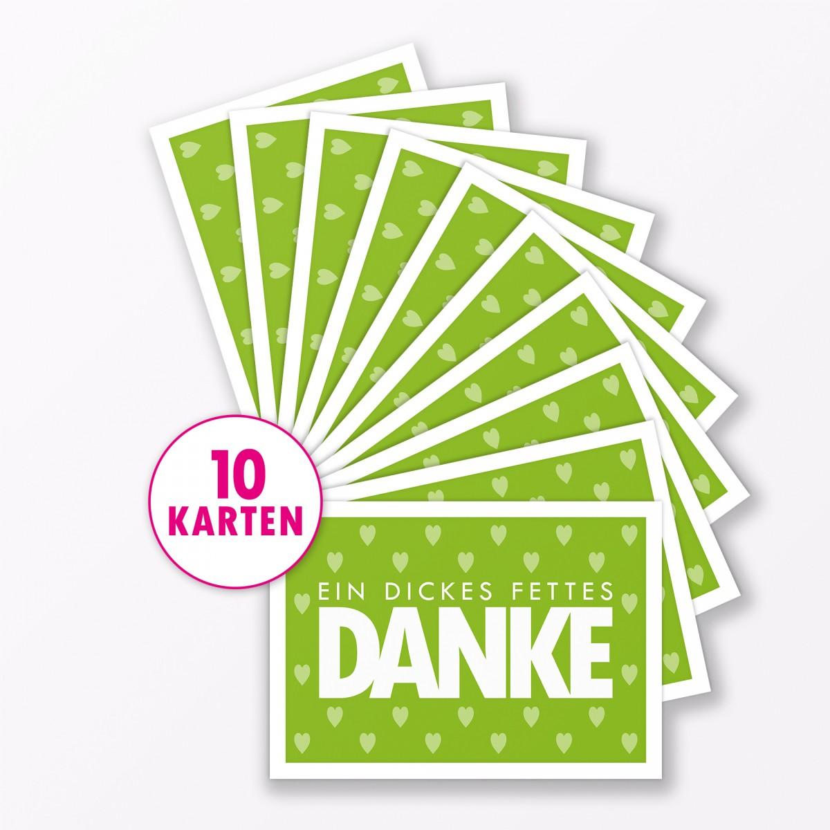 """TYPOP Postkarte """"Danke"""" mit Herz GRÜN A6"""