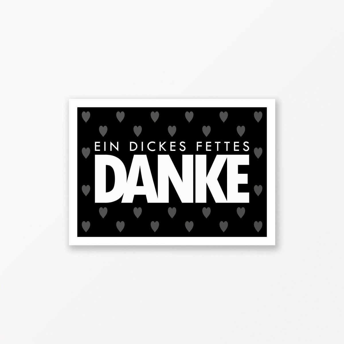 """TYPOP Postkarte """"Danke"""" mit Herz SCHWARZ A6"""