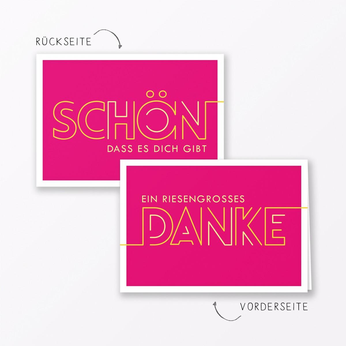 "TYPOP Dankeskarte ""Dankeschön"" PINK Klappkarte A6 inkl. Umschlag"