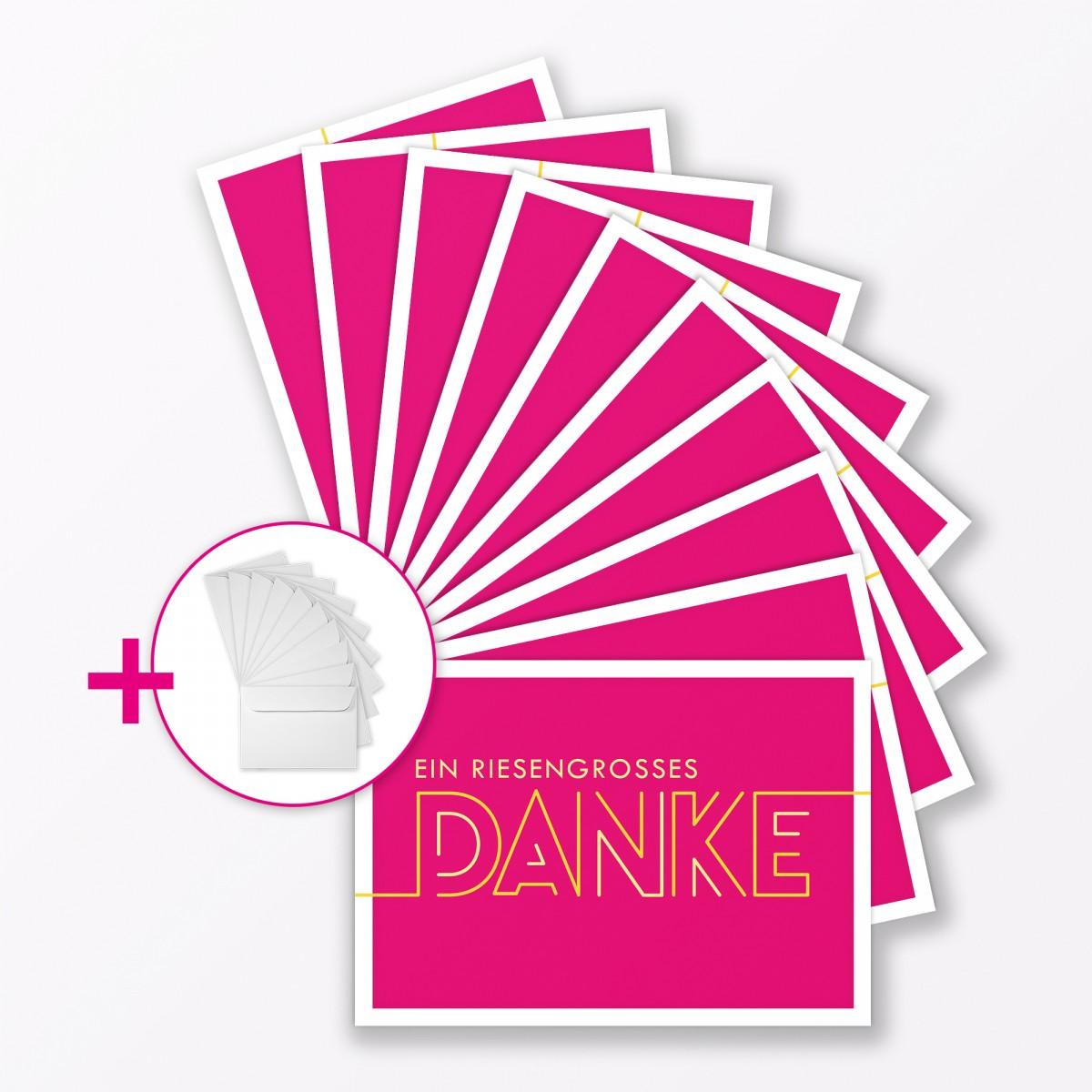 """TYPOP 10-teiliges Set Dankeskarte """"Dankeschön"""" PINK Klappkarte A6 inkl. Umschläge weiss"""