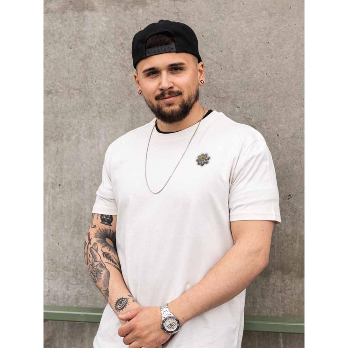 """Stadtliebe®   München T-Shirt mit gesticktem """"Edelweiss"""" Off-white 100% Bio-Baumwolle"""