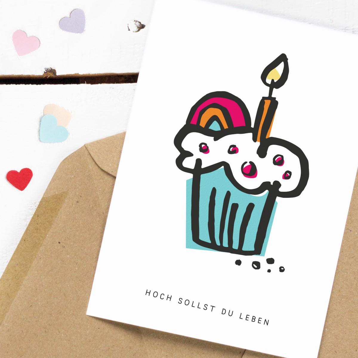 Kleine Papeterie // Hoch sollst du leben // Postkarte // Geburtstag