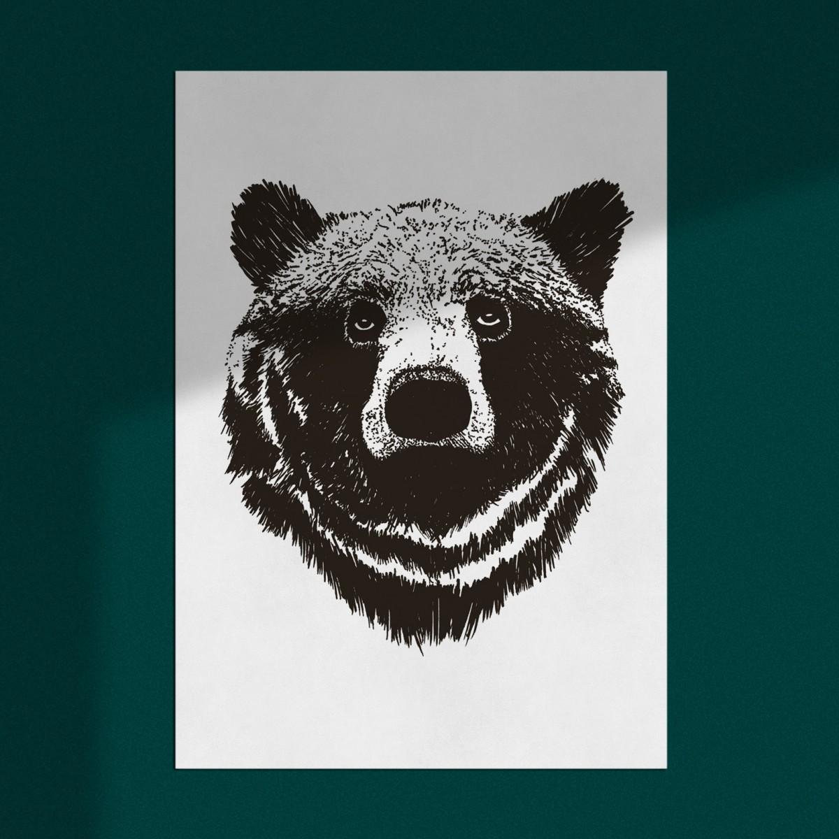 """Poster """"Bär"""", Wanddeko, Riso Art Print, A3"""