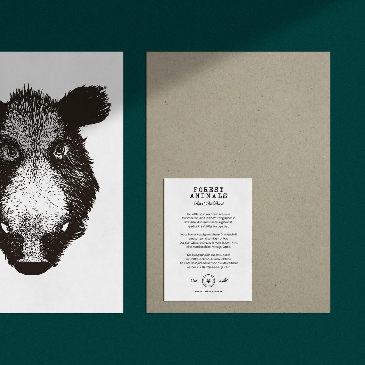 """Risographie Art Print """"Wildschwein"""", A3"""