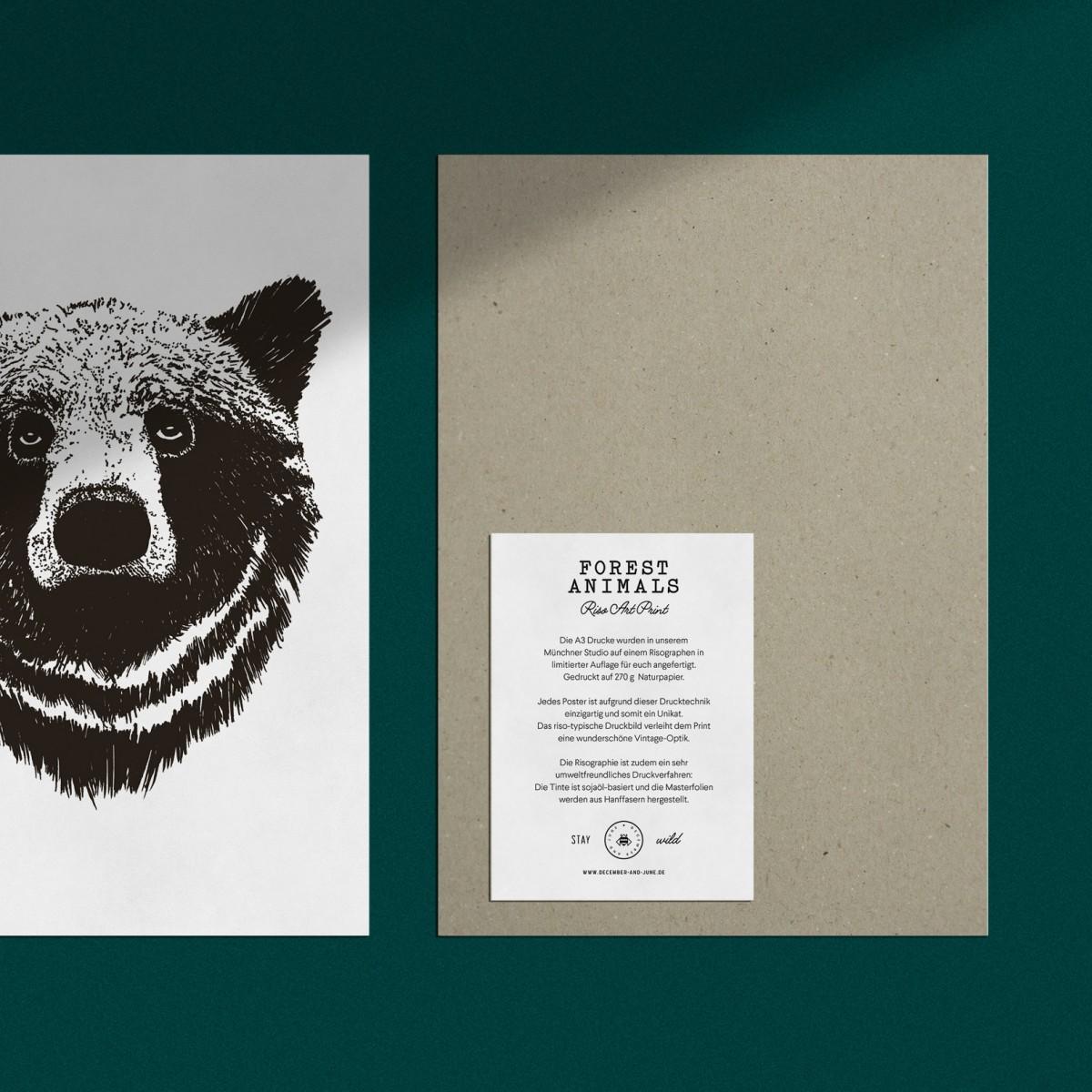 "Risographie Art Print ""Bär"", A3"
