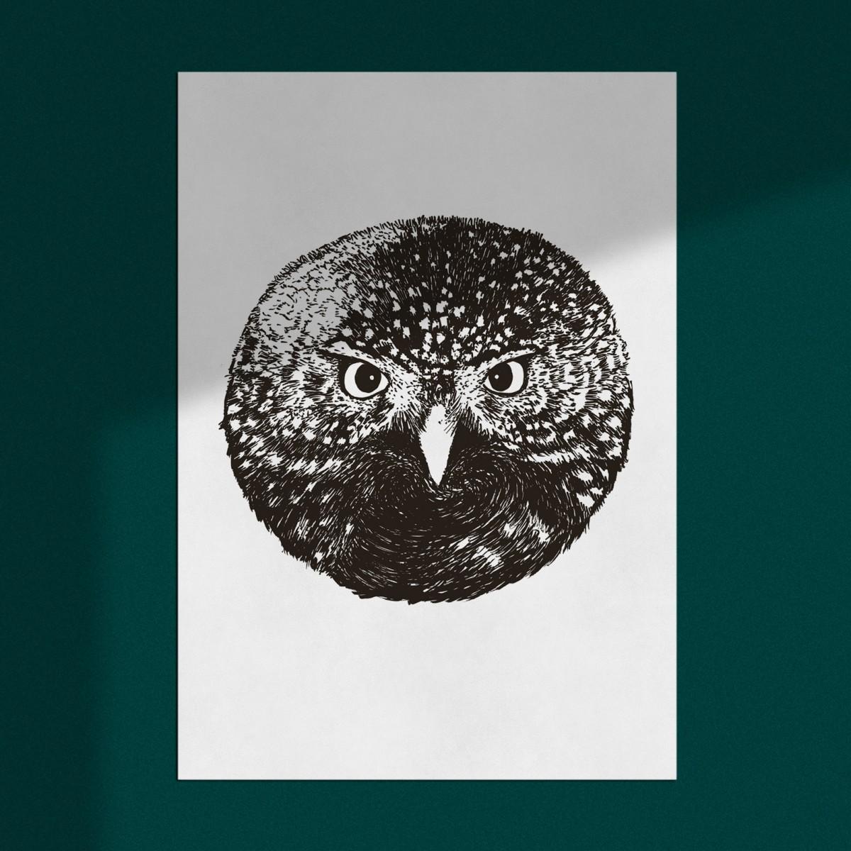 "Poster ""Eule"", Wanddeko, Riso Art Print, A3"