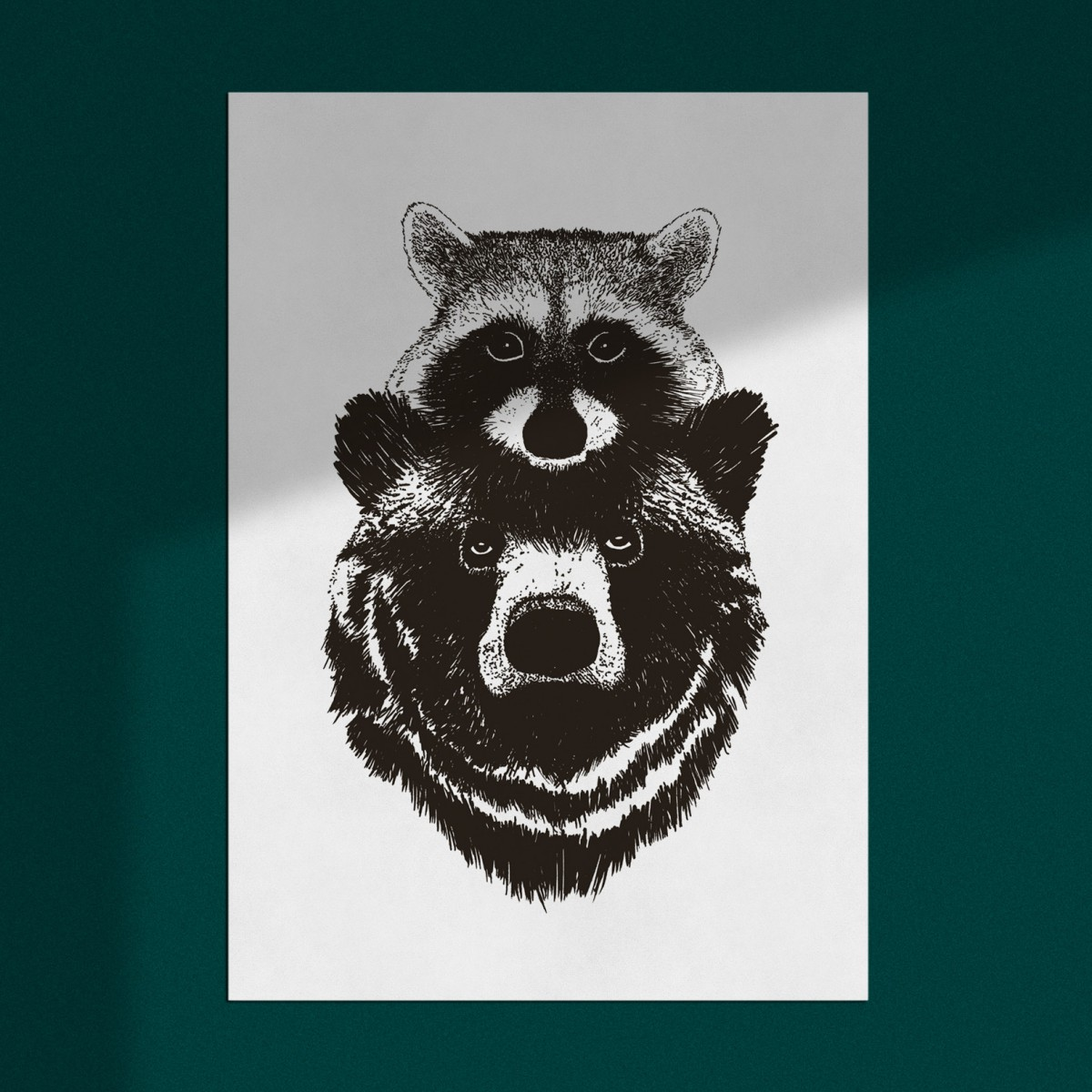 "Risographie Art Print ""Duo: Bär & Waschbär"", A3"