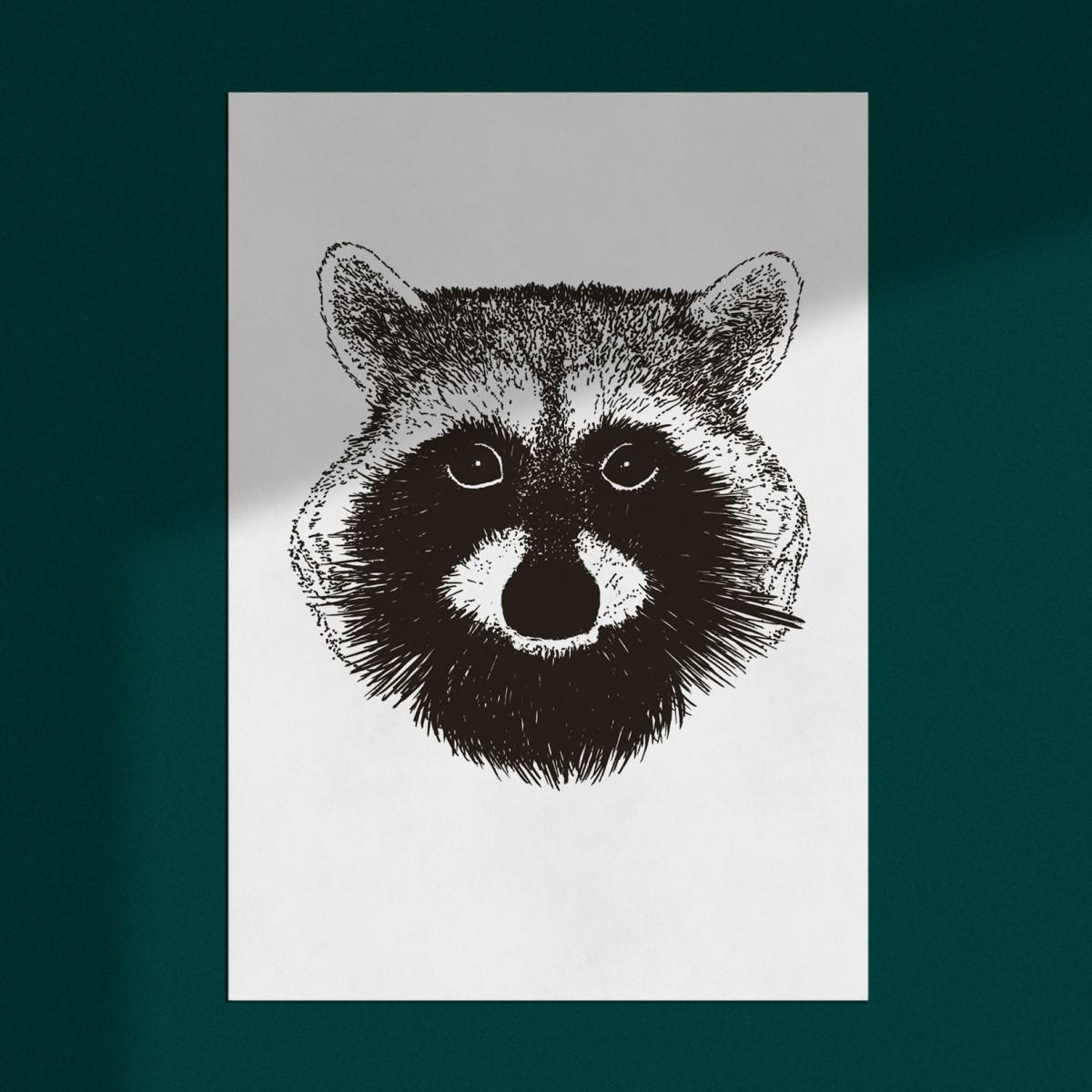 """Poster """"Waschbär"""", Wanddeko, Riso Art Print, A3"""