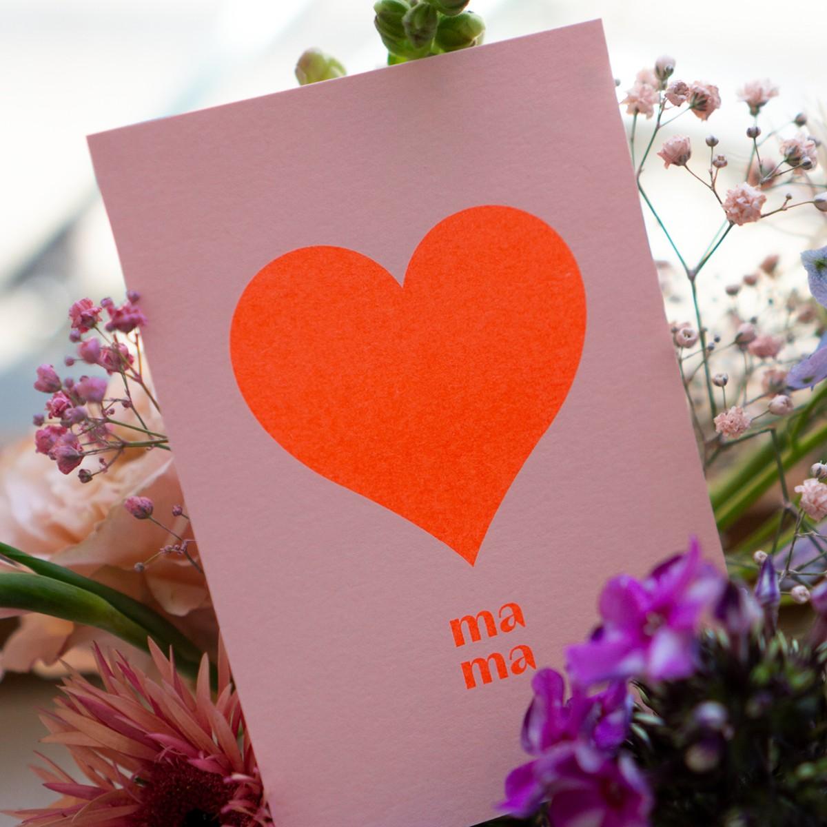 "Postkarte ""mama"" zum Muttertag, Risographie Art Print, A6"