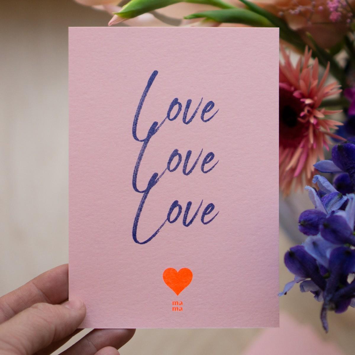 """Postkarte """"love"""" zum Muttertag, Risographie Art Print, A6"""