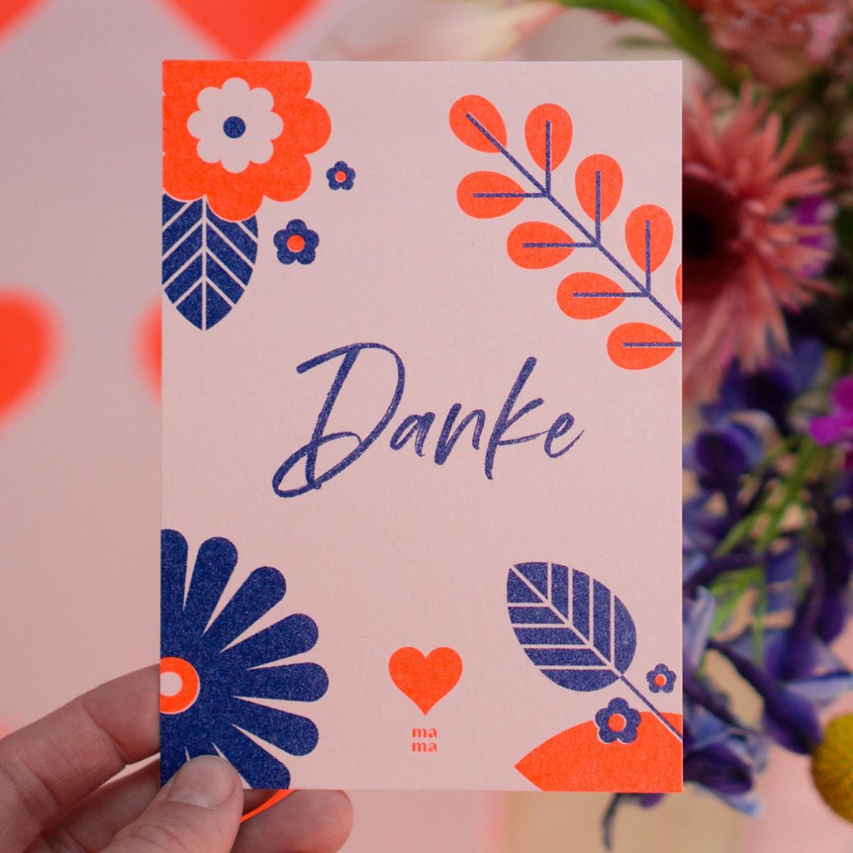 "Postkarte ""Danke mama"" zum Muttertag, Risographie Art Print, A6"