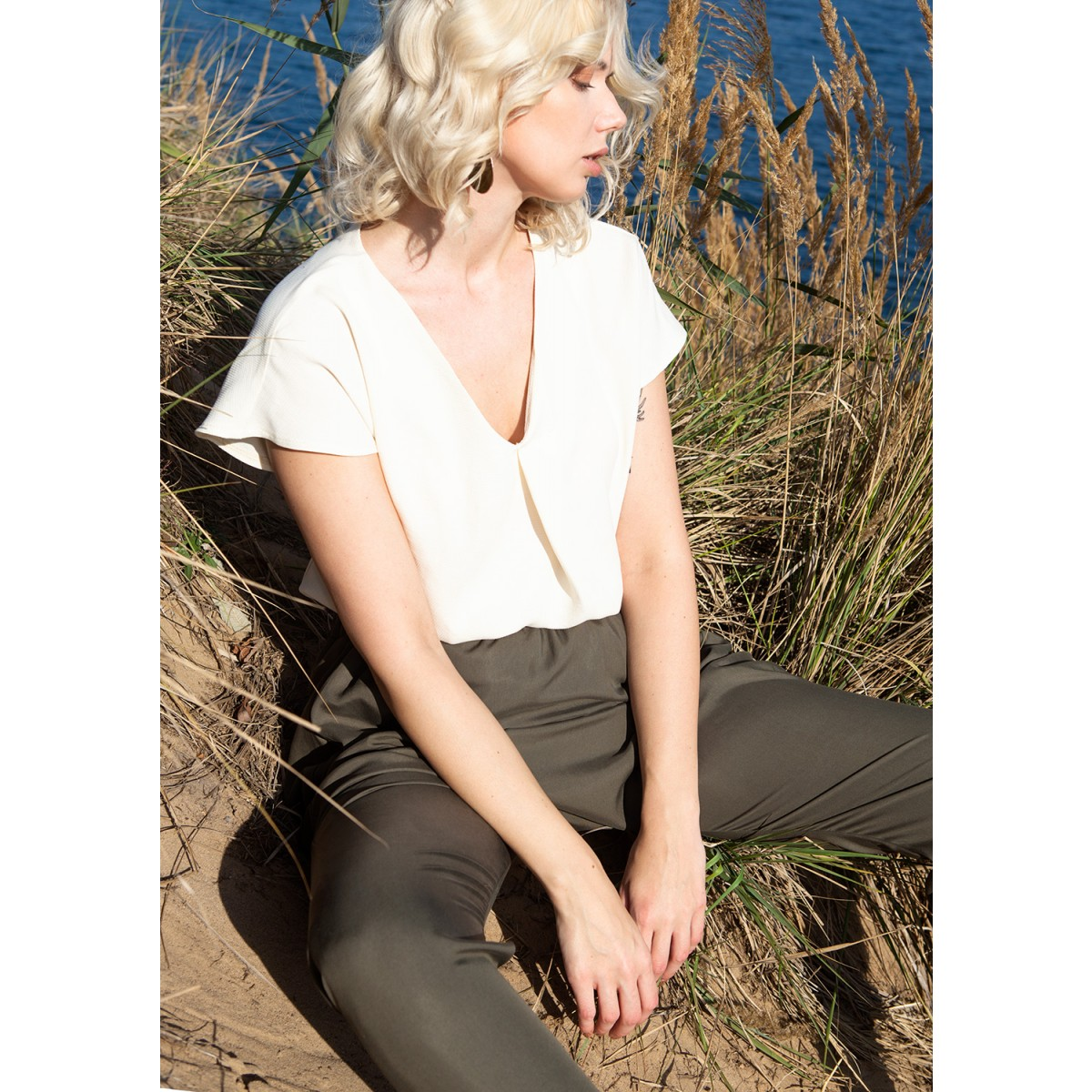 """BLUSE """"OFF BEAT"""" AUS TENCEL IN OFFWHITE"""