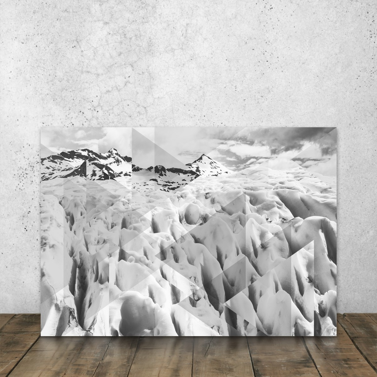 JOE MANIA / Modern Artprint Poster / Landscapes Scattered 2 (Perito Moreno B&W) DIN A4 - A0