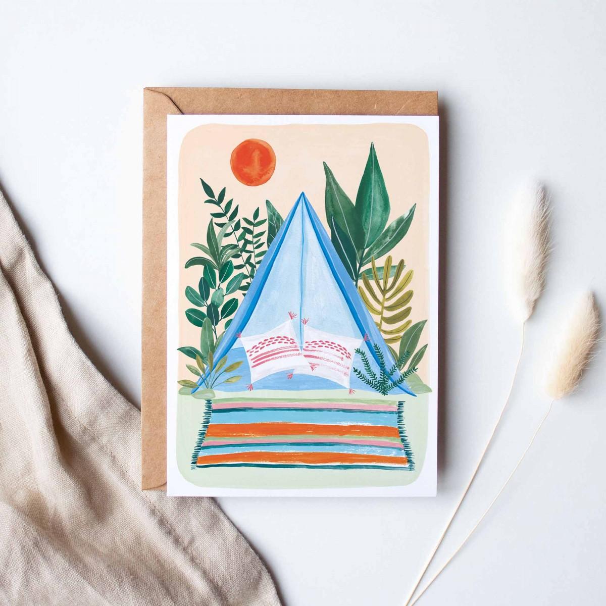 """Paperlandscape   Aquarell Grußkarte """"Zelten""""   A6 Faltkarte   Reisen in der Natur   Camping"""