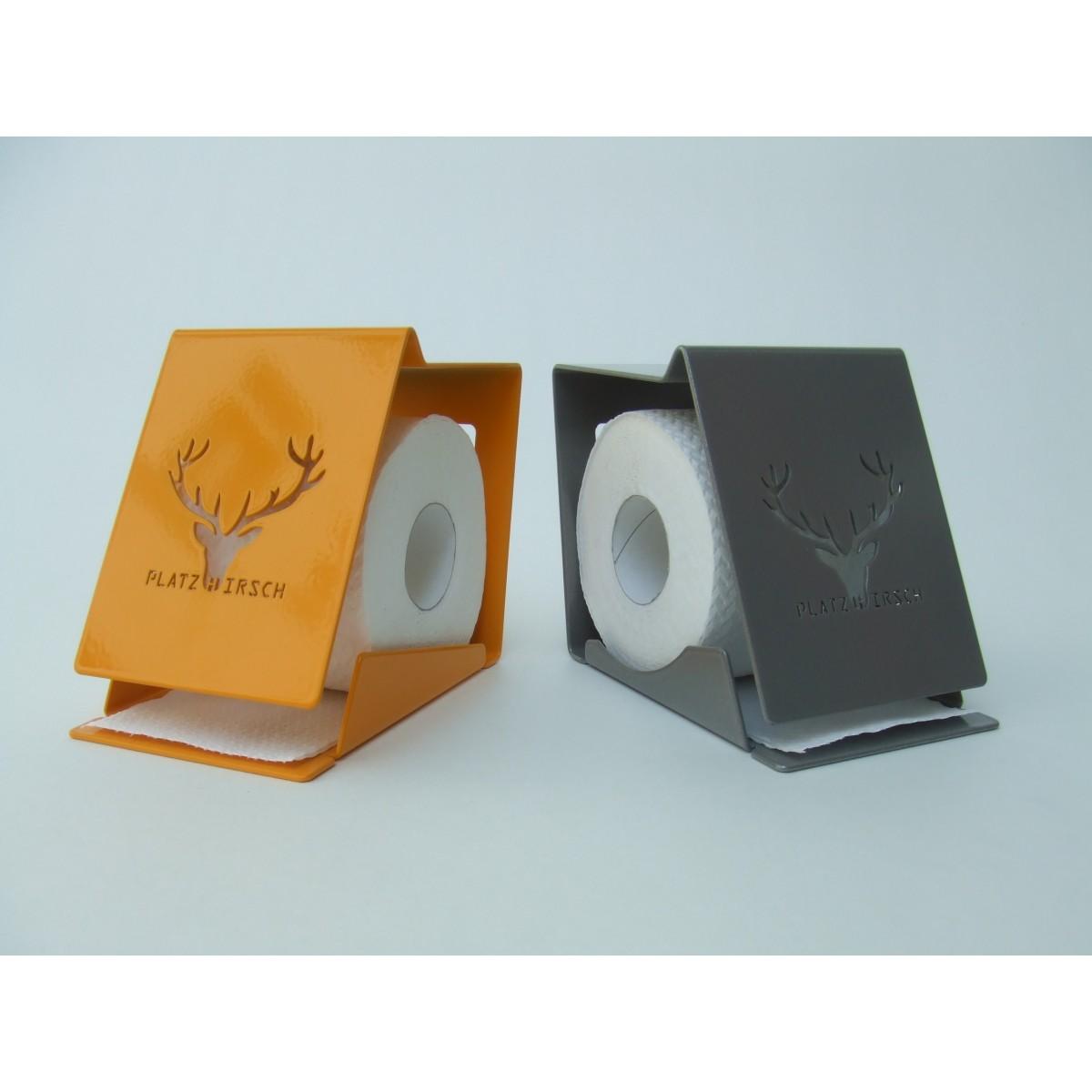 ulf seydell rollenhalter platzhirsch in grau oder gelb. Black Bedroom Furniture Sets. Home Design Ideas
