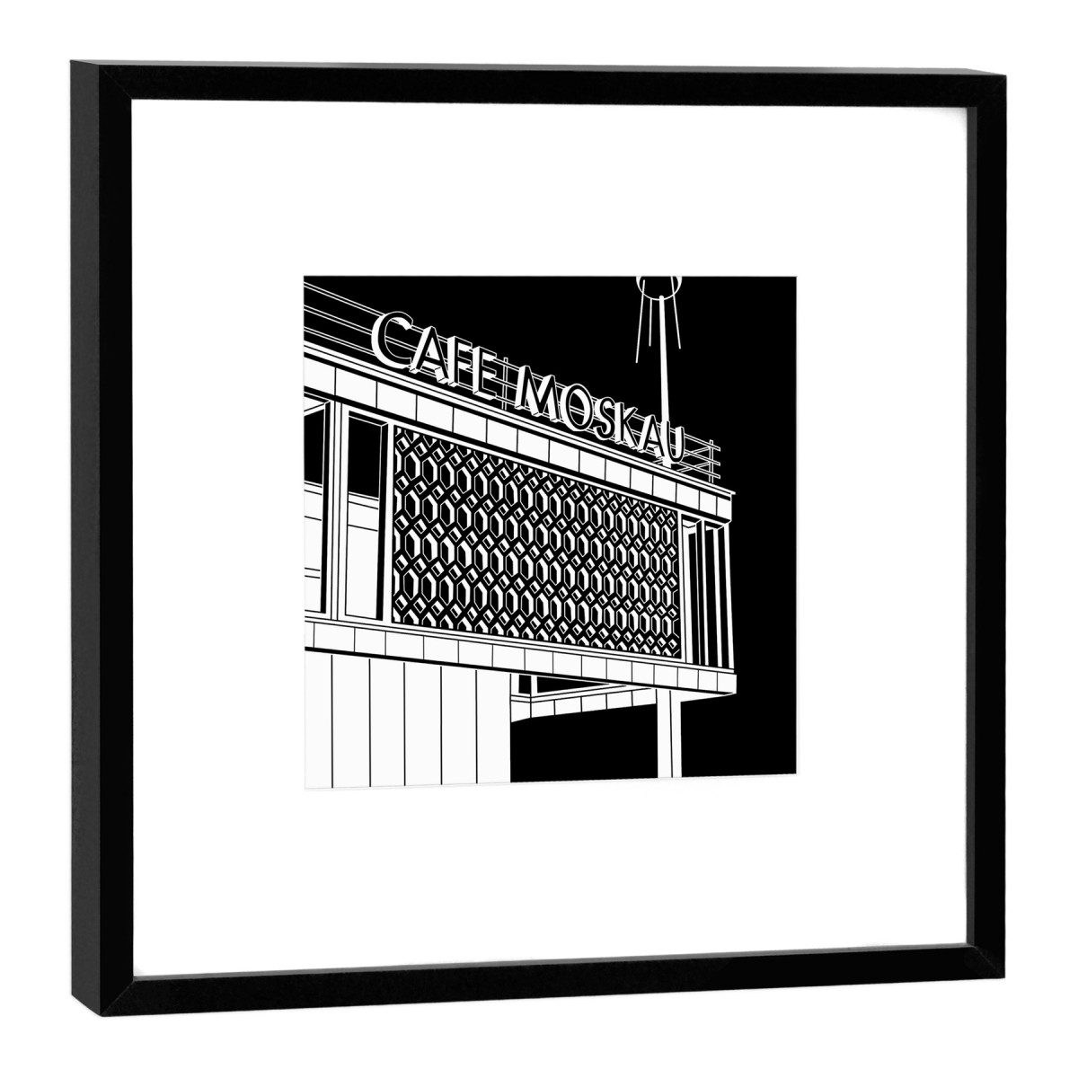 COGNOSCO Fine Art Print Café Moskau Berlin im Holzrahmen schwarz, 27 x 27 cm