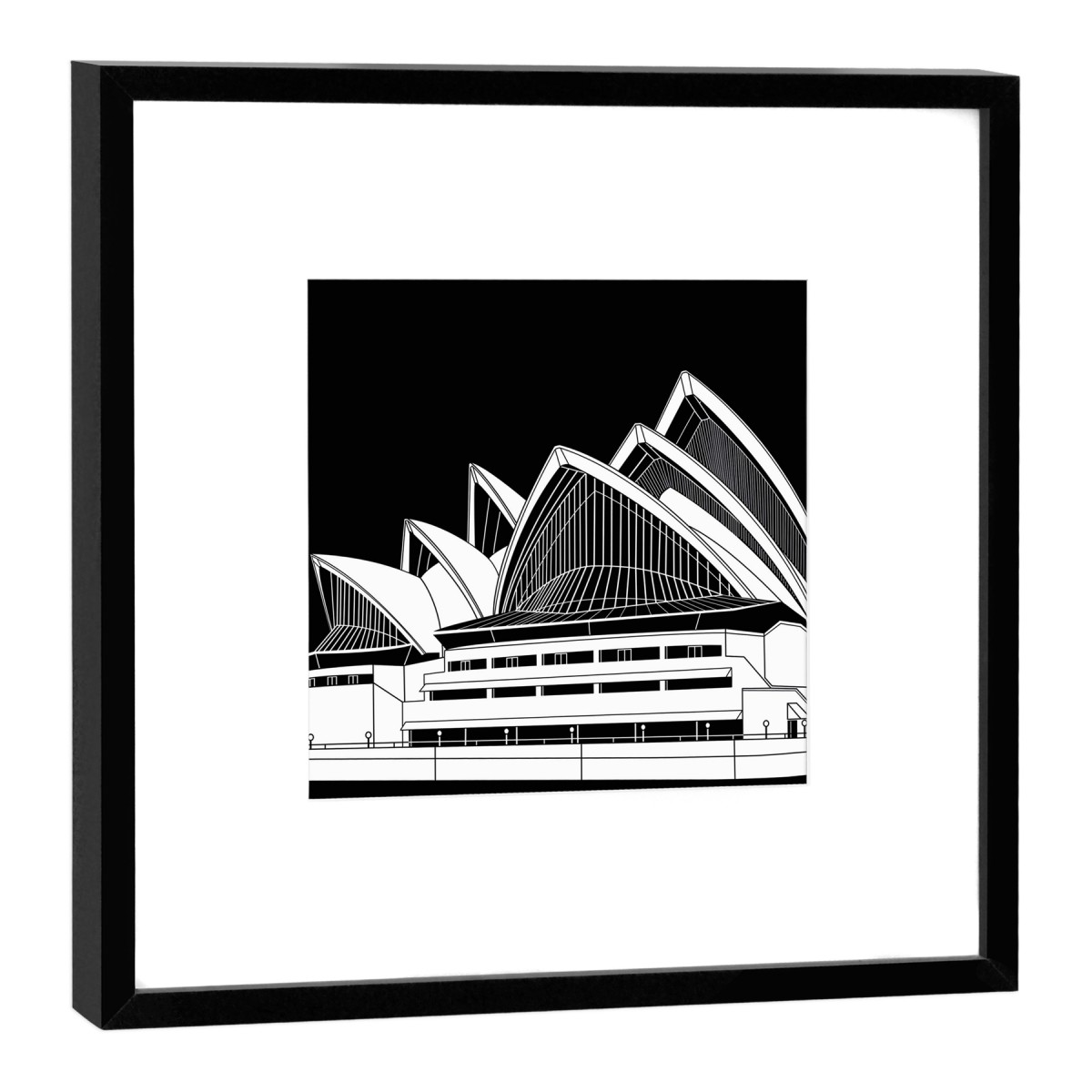 COGNOSCO Fine Art Print Sidney Opera House im Holzrahmen schwarz, 27 x 27 cm