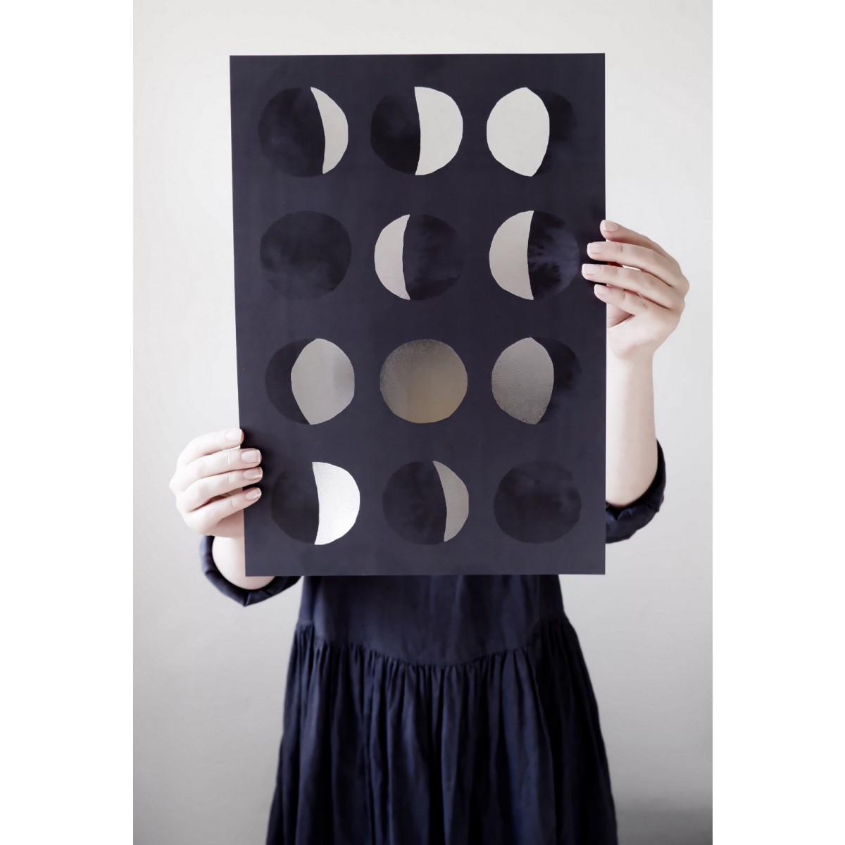 PHASES OF THE MOON - A3 Print mit Silberfolie - Anna Cosma