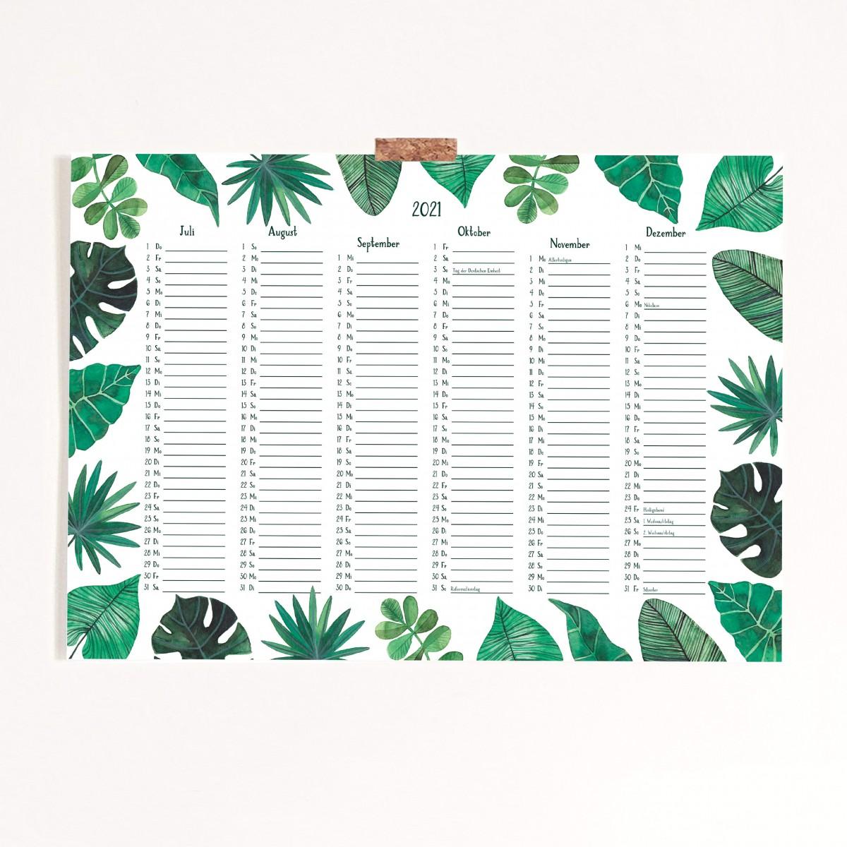 Paperlandscape | Posterkalender A3 | Pflanzen Kalender | botanisch | tropische Blätter