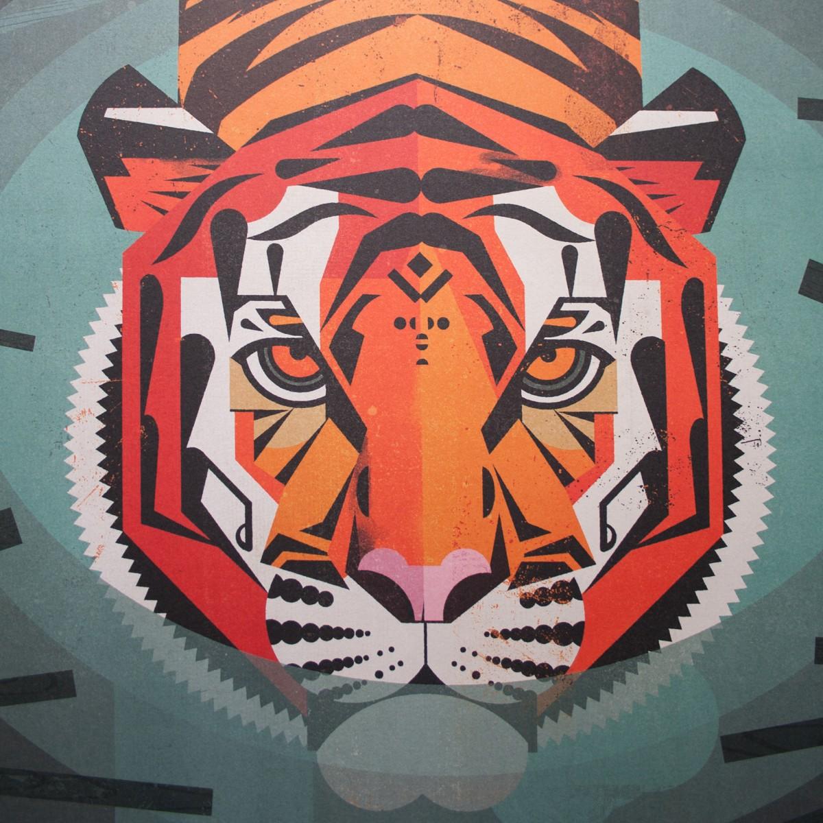 KLEINWAREN / VON LAUFENBERG Set 6 / Swimming Tiger + Magnetische Posterleiste 50 cm
