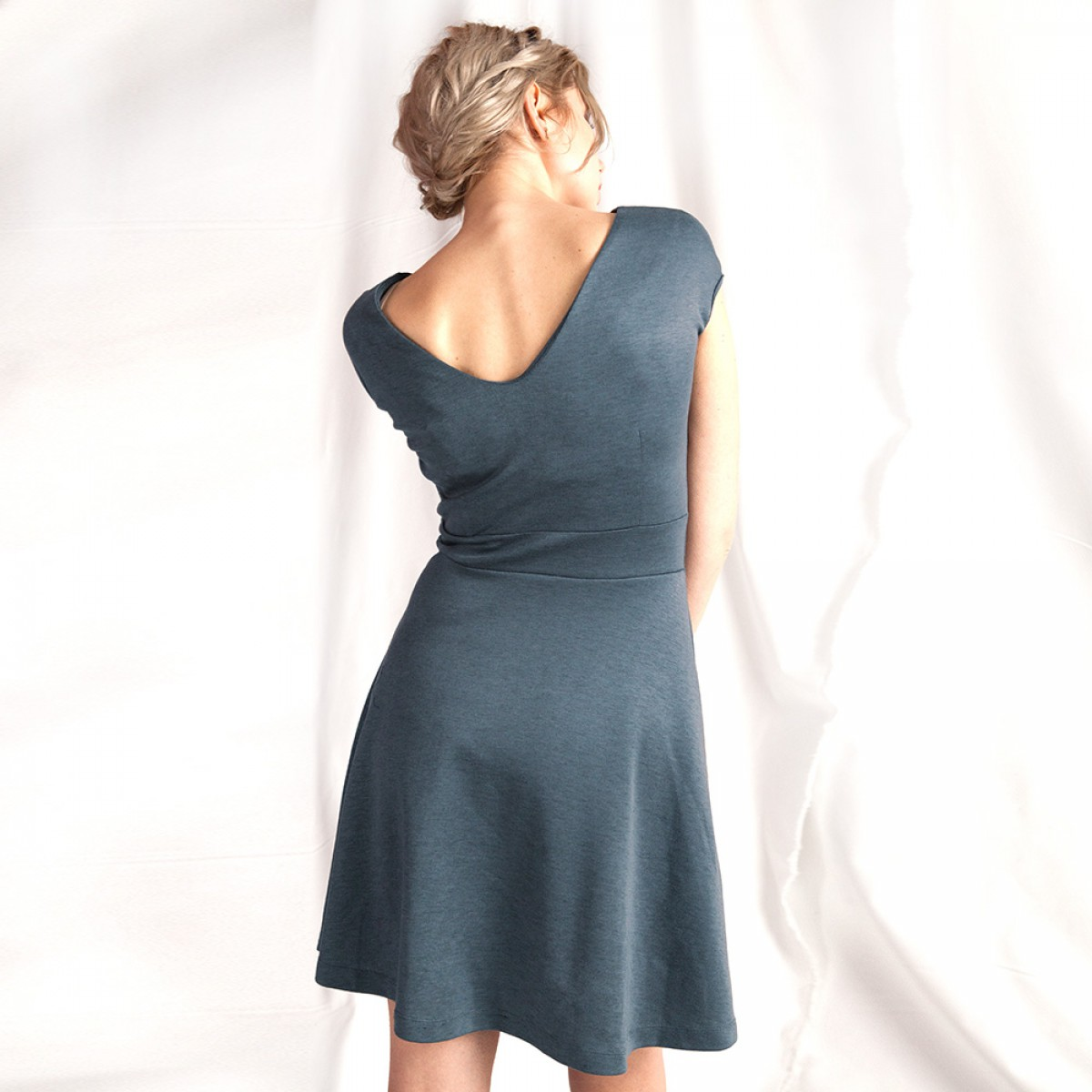 "WiDDA - Jerseykleid ""Billy"" in Taubenblau"
