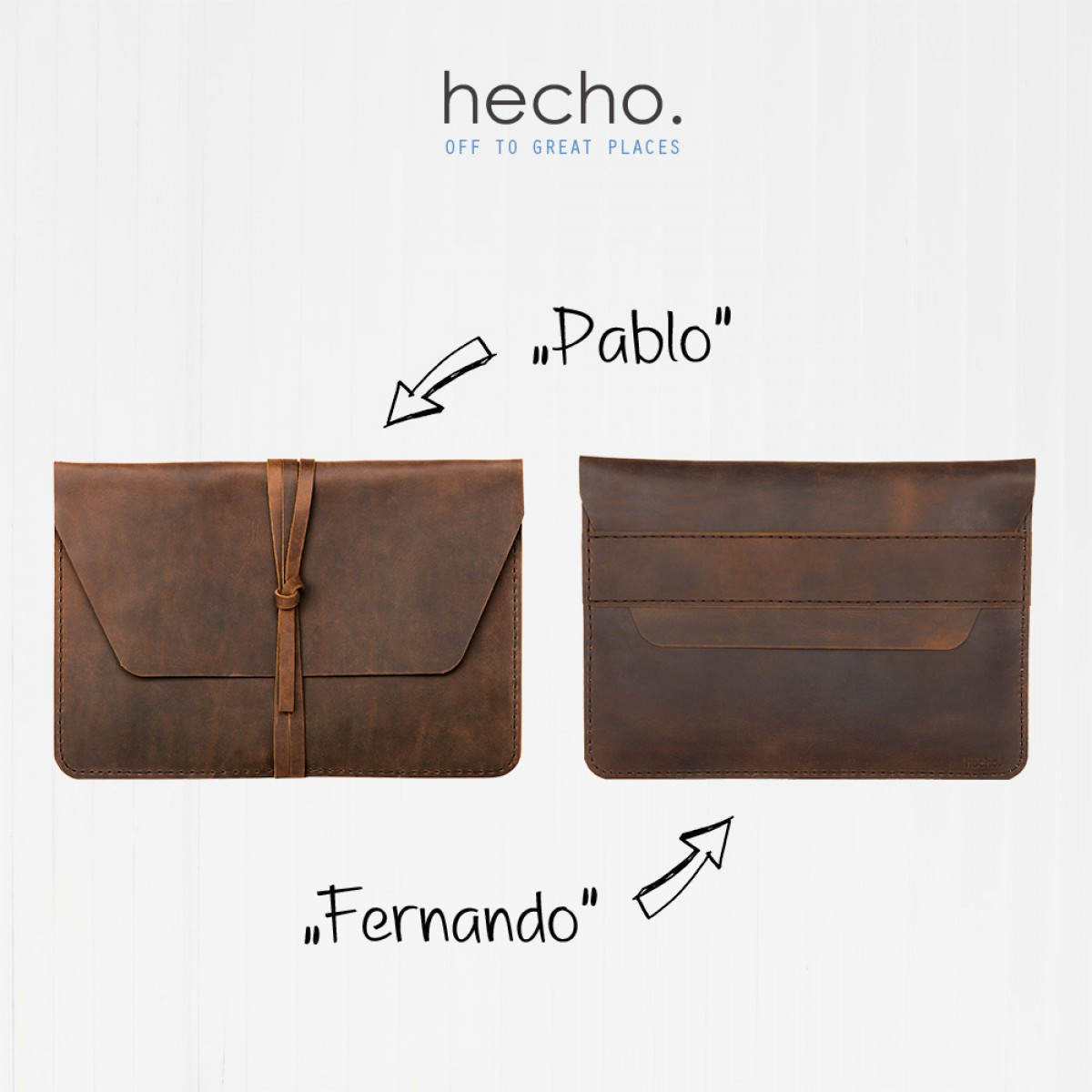 "hecho. Ledertasche ""Pablo"" für Apple iPad Pro 12,9"" 2018 & Apple Pencil (Hülle, Cover, Sleeve, Schutz)"