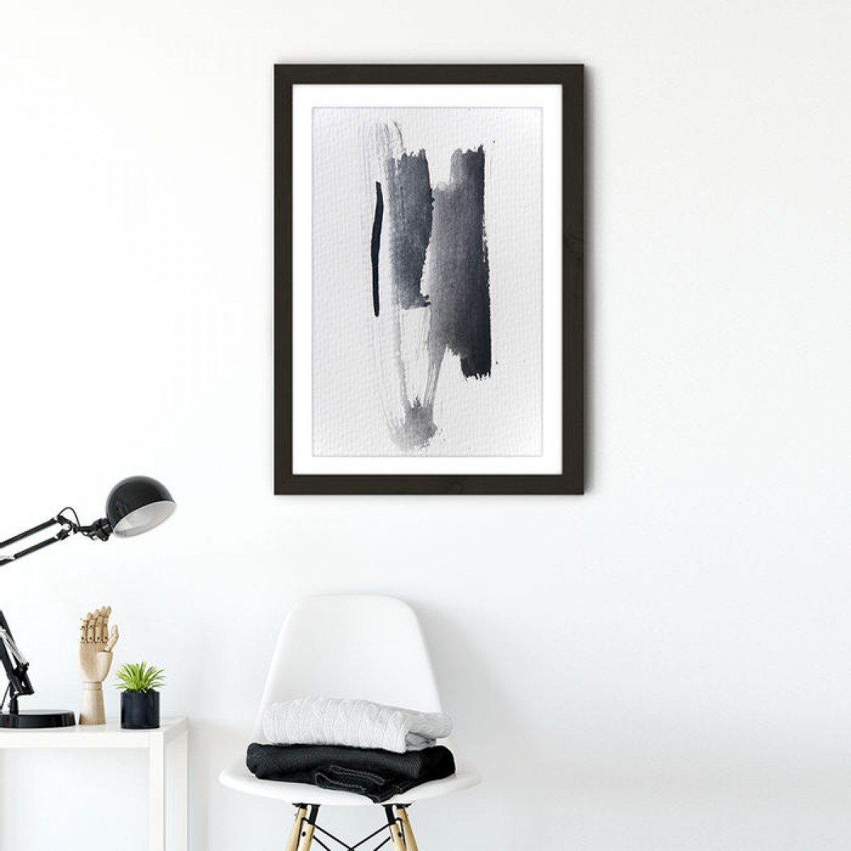 "nahili ARTPRINT / POSTER ""Aquarelle Meets Pencil - Black Strokes"" abstrakte Grafik Kunst - Druck (DIN A1/A3 & 50x70cm)"
