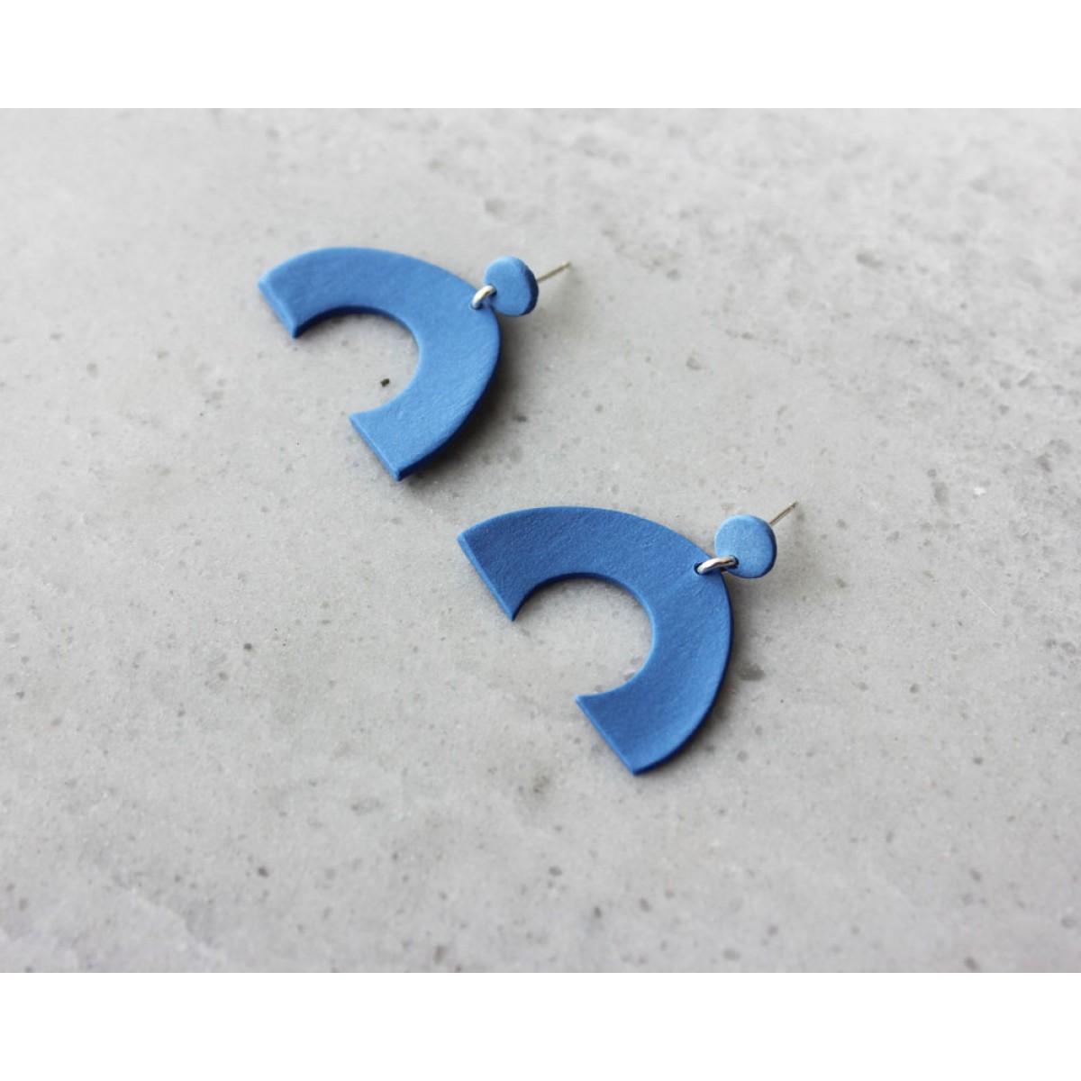 Skelini - kobaltblau matt Geometrische Porzellanohrringe