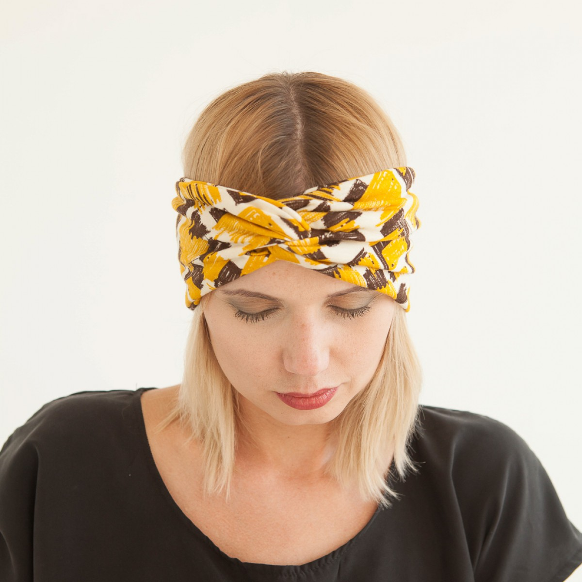 """WiDDA - gelb gemustertes Stirnband """"Malala"""" aus Jersey"""