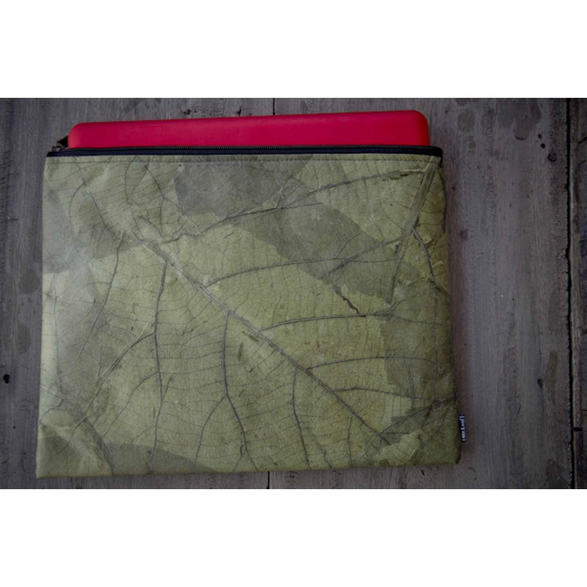 Laptop Hülle aus Blättern, wasserabweisende Notebook Tasche 13 - 14 Zoll in grün