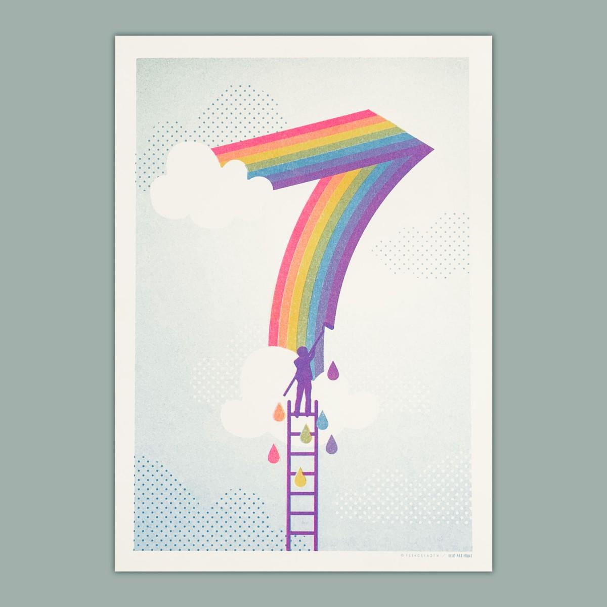 Feingeladen // NUMBERS // »Wolke Sieben« (FPSFAQ), RISO-Kunstdruck, A4