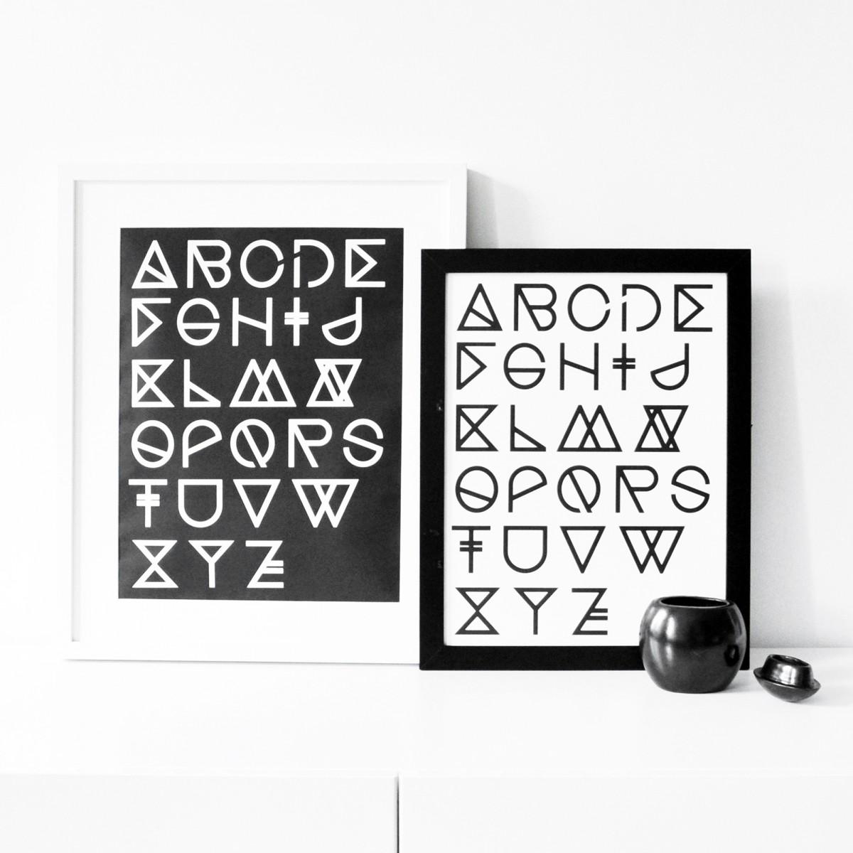 na.hili Print - Geometrical ABC - grey - A3 Poster