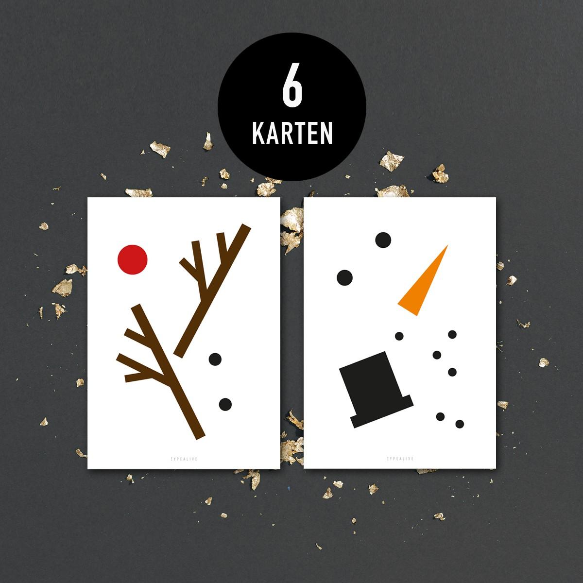 typealive/ Weihnachtskarten-Set / Rudolph & Snowman