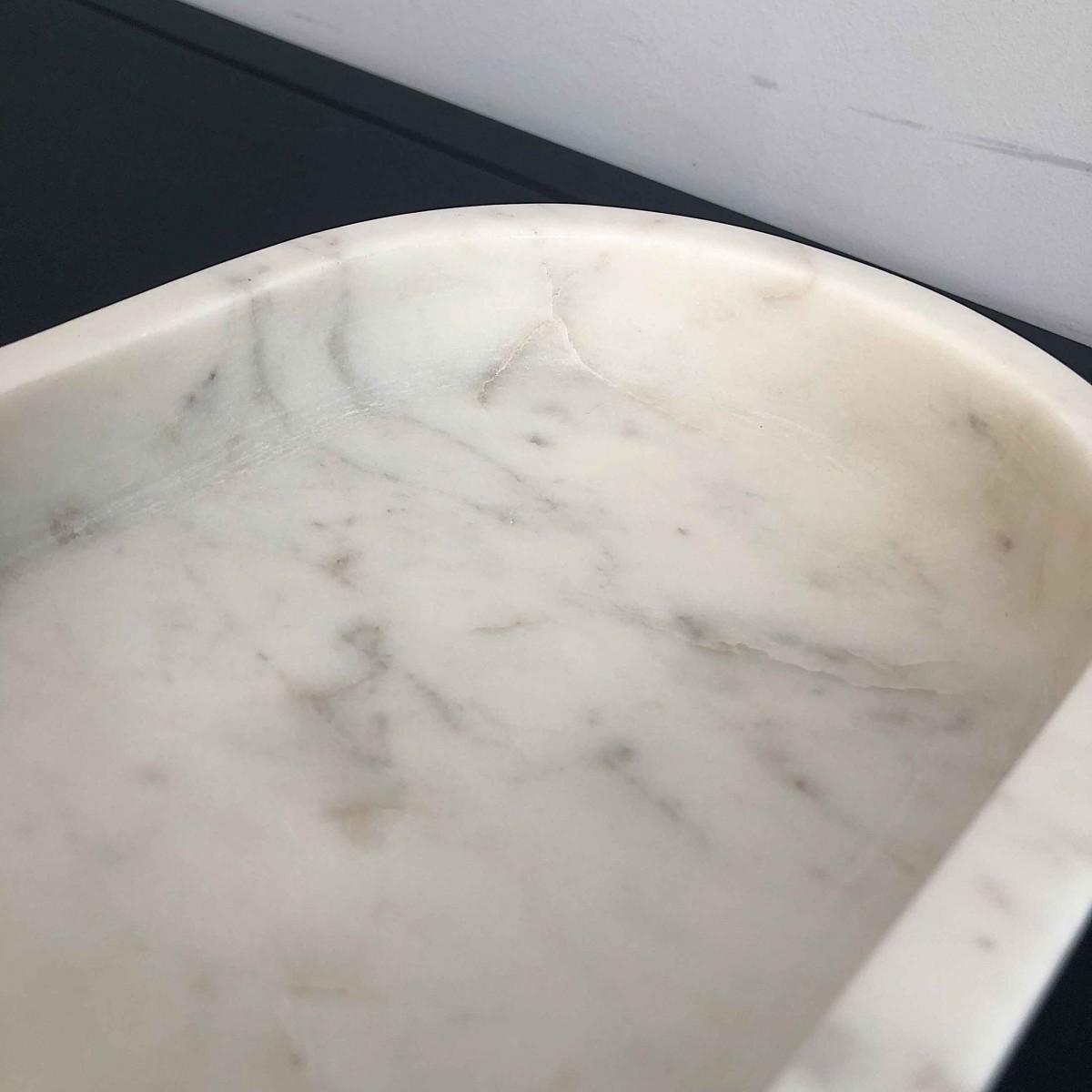 adorist - Marmortablett weiß, oval groß
