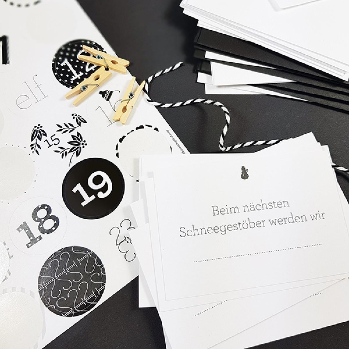 Bow & Hummingbird Adventskalender Schwarz/Weiß