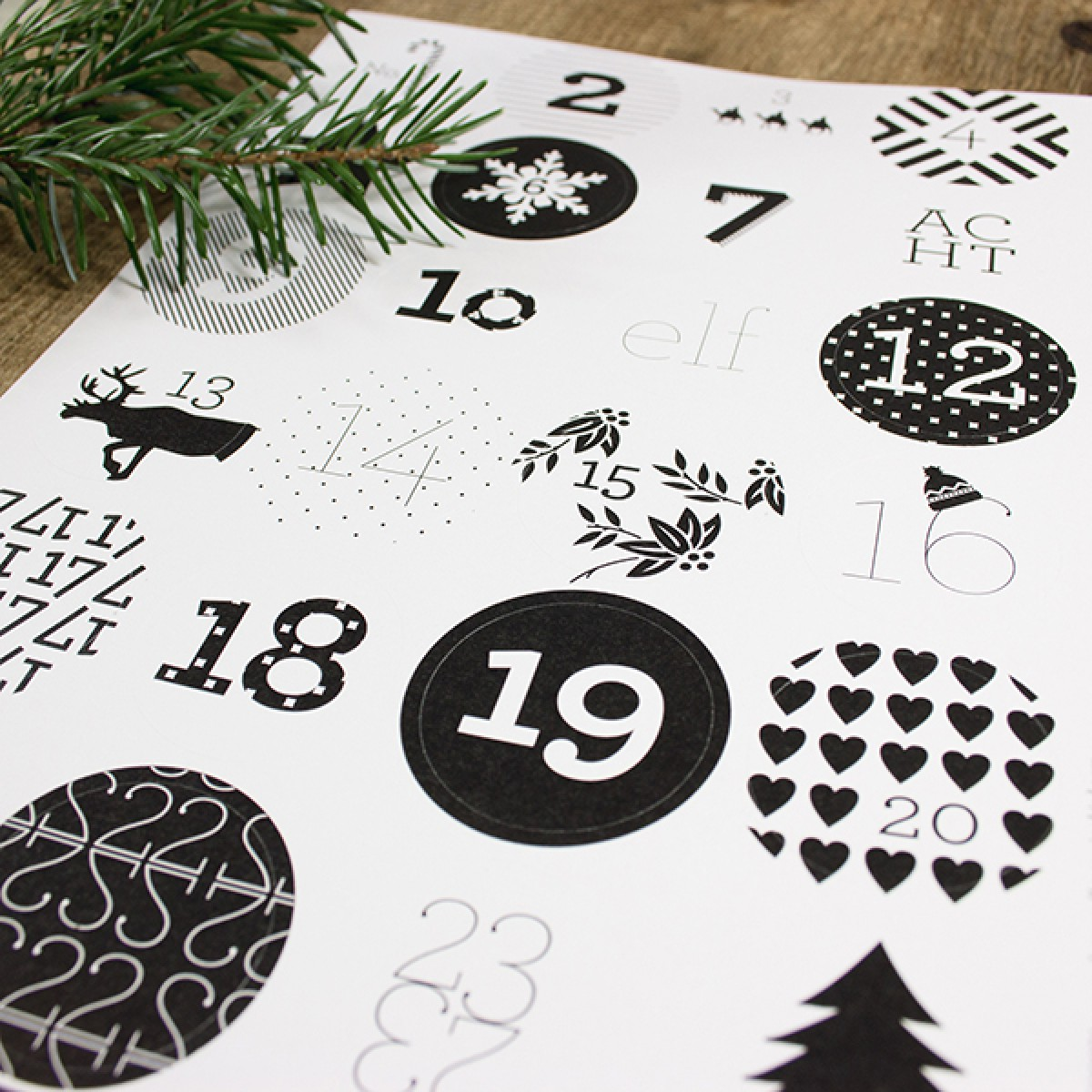 Bow & Hummingbird Adventskalender Aufkleber