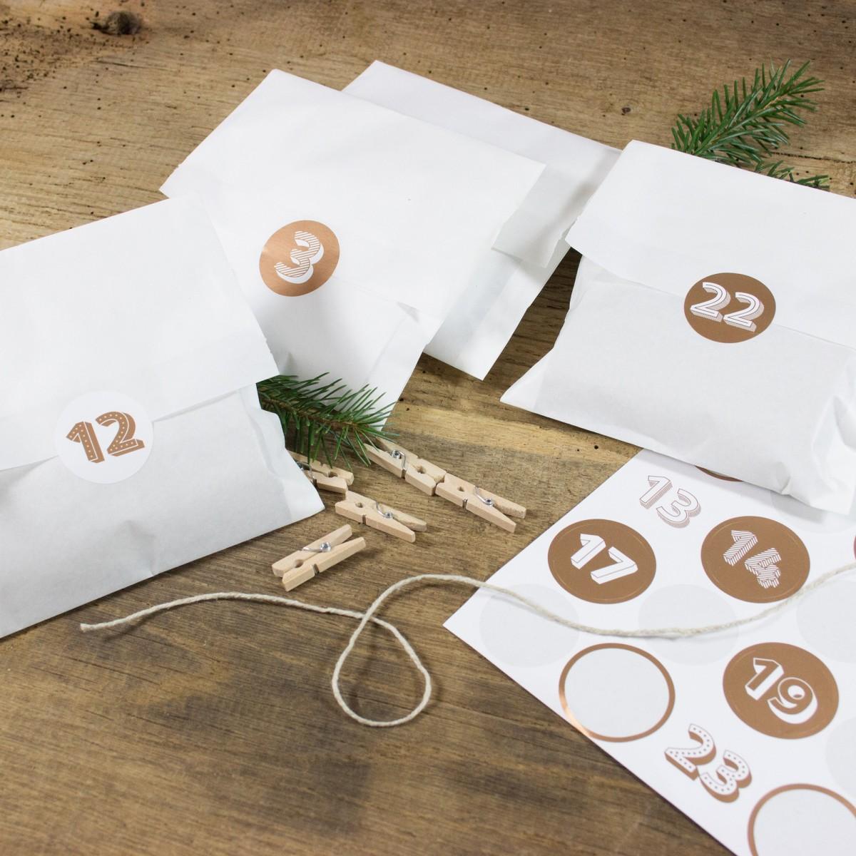 Bow & Hummingbird Adventskalender Weiß/Kupfer zum Befüllen