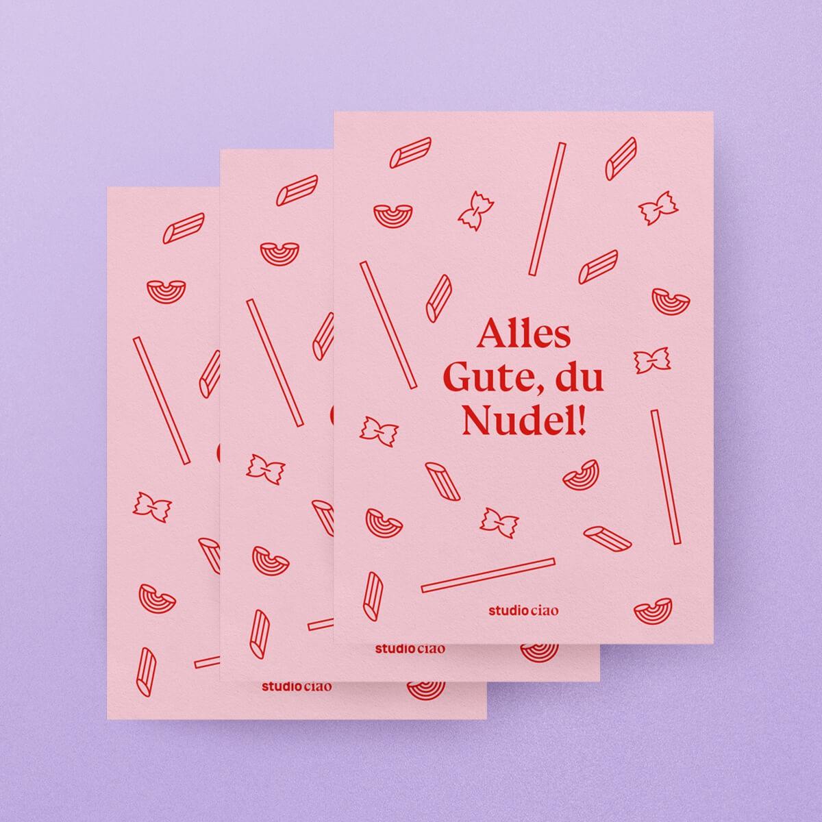 Alles Gute, du Nudel! / 3er Postkartenset – studio ciao