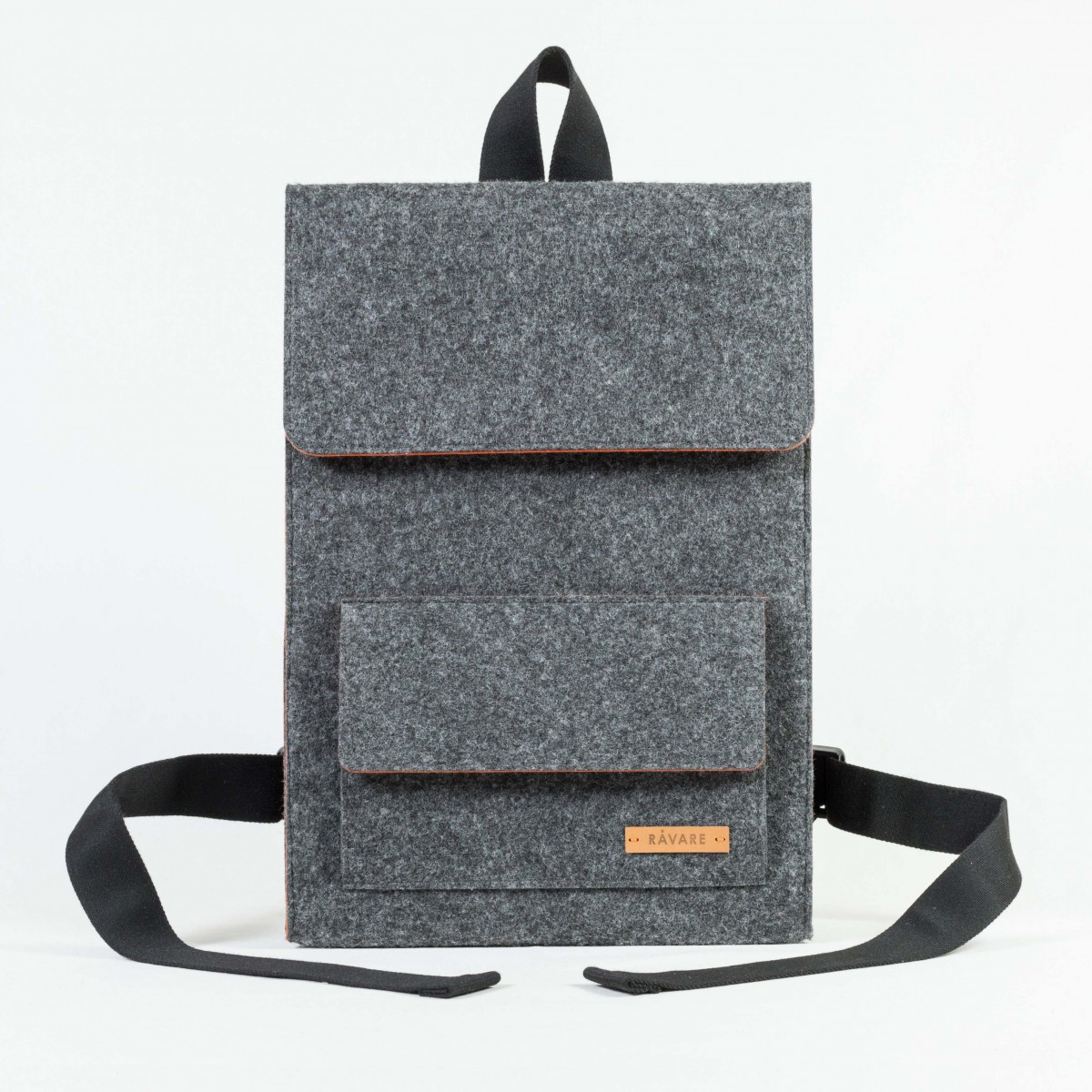 RÅVARE City-Rucksack aus Nadelfilz grau-orange [AMARU]