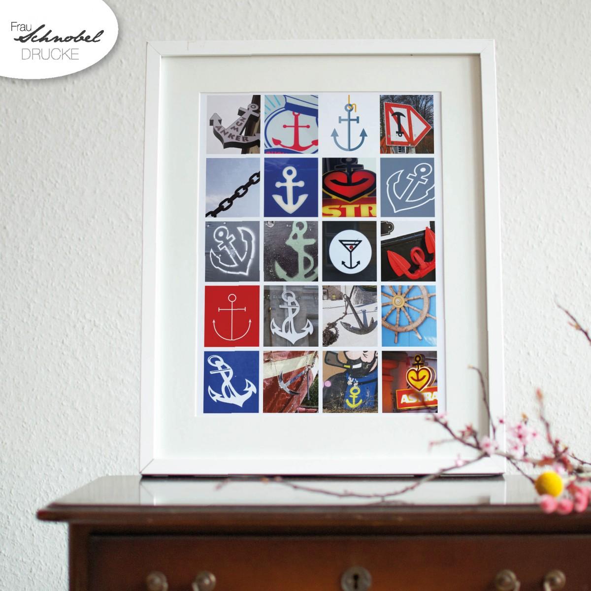 "Frau Schnobel Grafik-Druck ""Ankerfest"" NEUAUFLAGE, DIN A3 (297 x 420mm)"