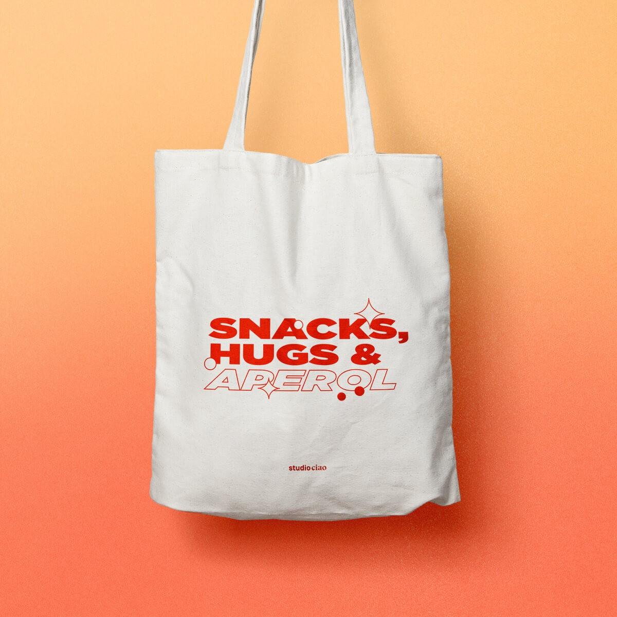 Snacks, Hugs & Aperol Jutebeutel – studio ciao