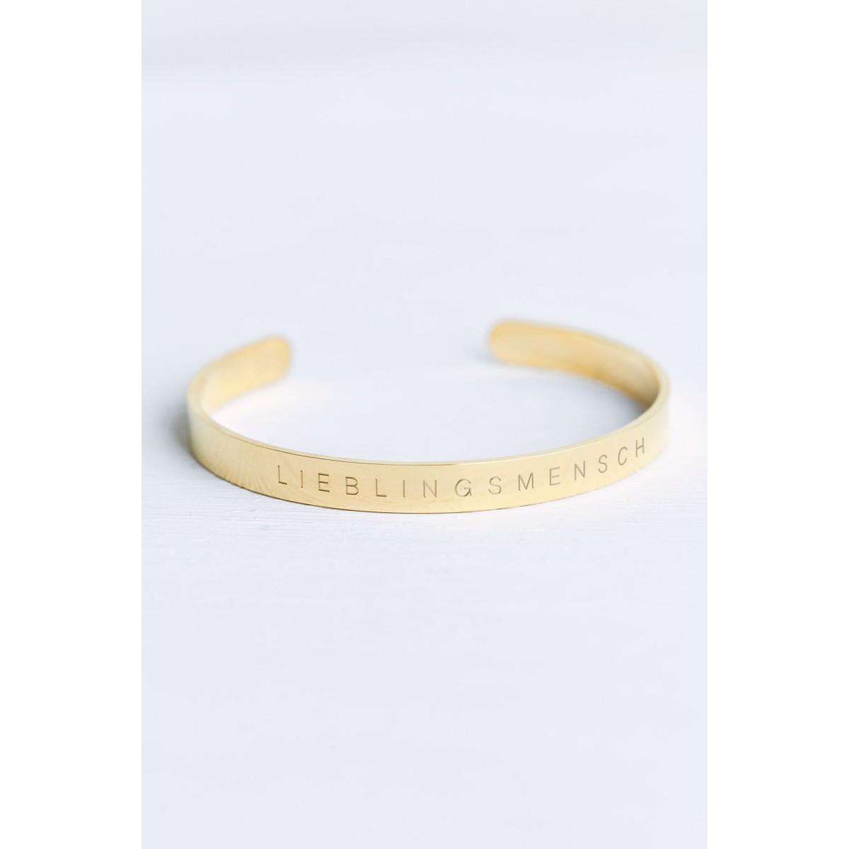 Oh Bracelet Berlin – Schmaler Armreif Lieblingsmensch aus Edelstahl vergoldet glänzend