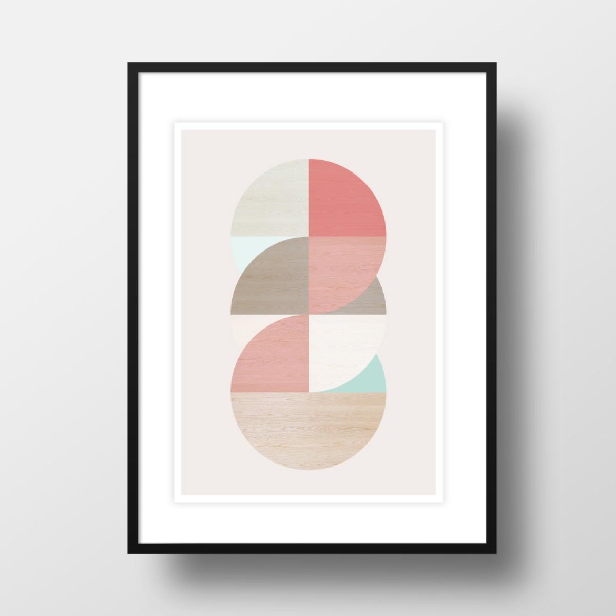 """Amy & Kurt Berlin A4 Artprint """"Wooden circles"""""""