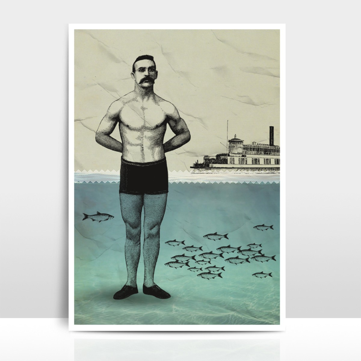 """Amy & Kurt Berlin A3 Artprint """"Beachboy"""""""