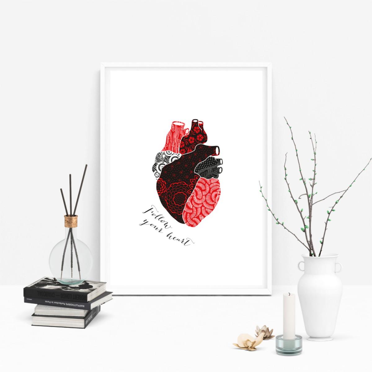 """Amy & Kurt Berlin A4 Artprint """"Follow your heart"""""""