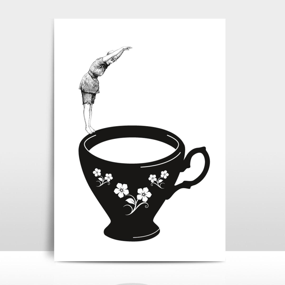 """A4 Artprint """"Kopfsprung in Teetasse"""""""